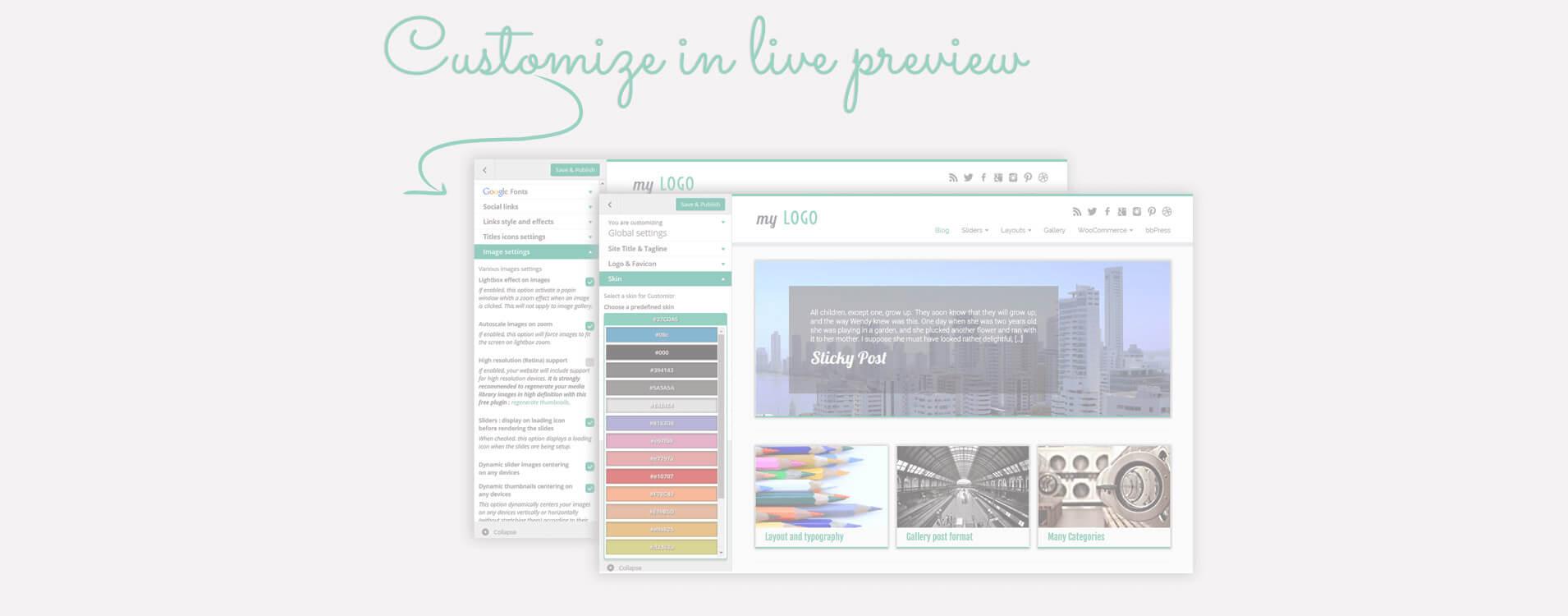 De nombreuses options de design et structures sont disponibles dans l'écran de customization Wordpress : vos modifications s'affichent en live !